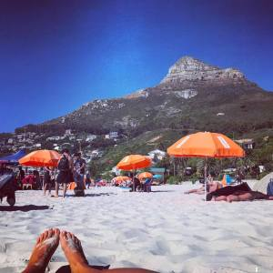 Chilling on Clifton 4th looking towards Lion's Head. Where is Wally's cave?